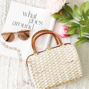 Handbags - Acrylic Handle Mini Straw Bag